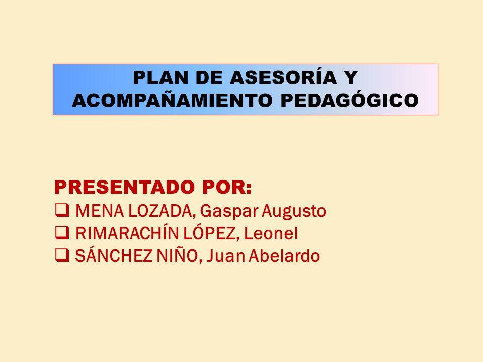 PLAN DE ASESORÍA Y ACOMPAÑAMIENTO PEDAGÓGICO
