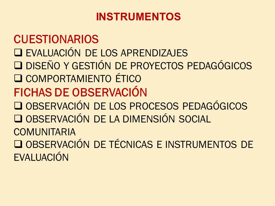 CUESTIONARIOS FICHAS DE OBSERVACIÓN INSTRUMENTOS