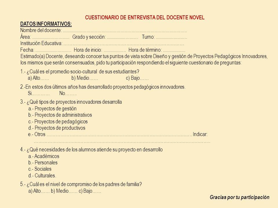 CUESTIONARIO DE ENTREVISTA DEL DOCENTE NOVEL