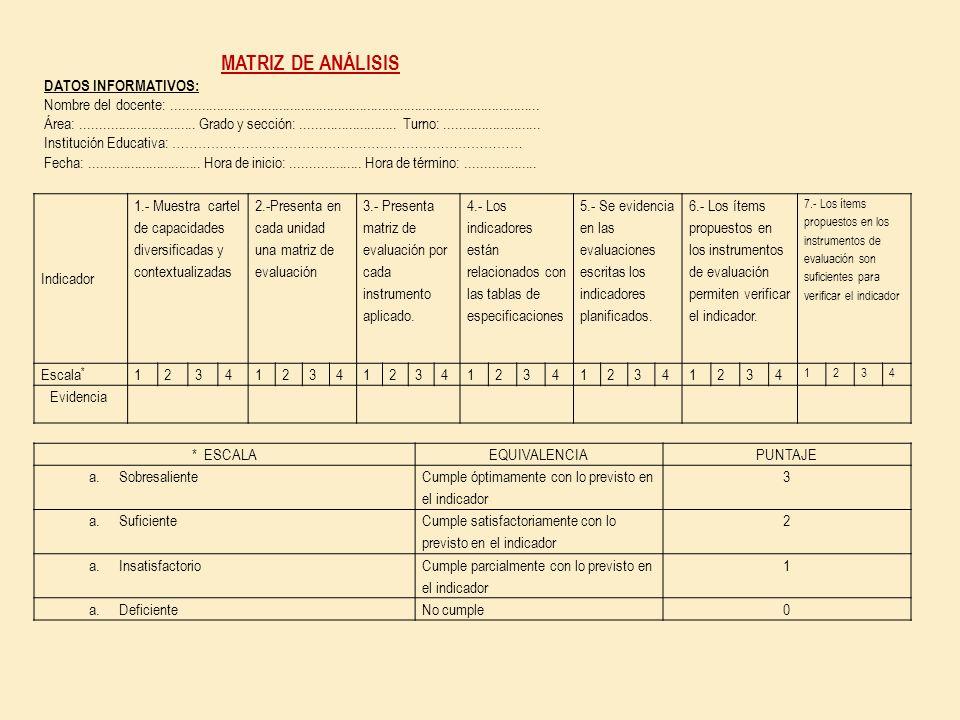 MATRIZ DE ANÁLISIS DATOS INFORMATIVOS: