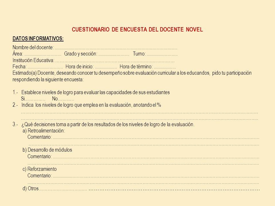 CUESTIONARIO DE ENCUESTA DEL DOCENTE NOVEL
