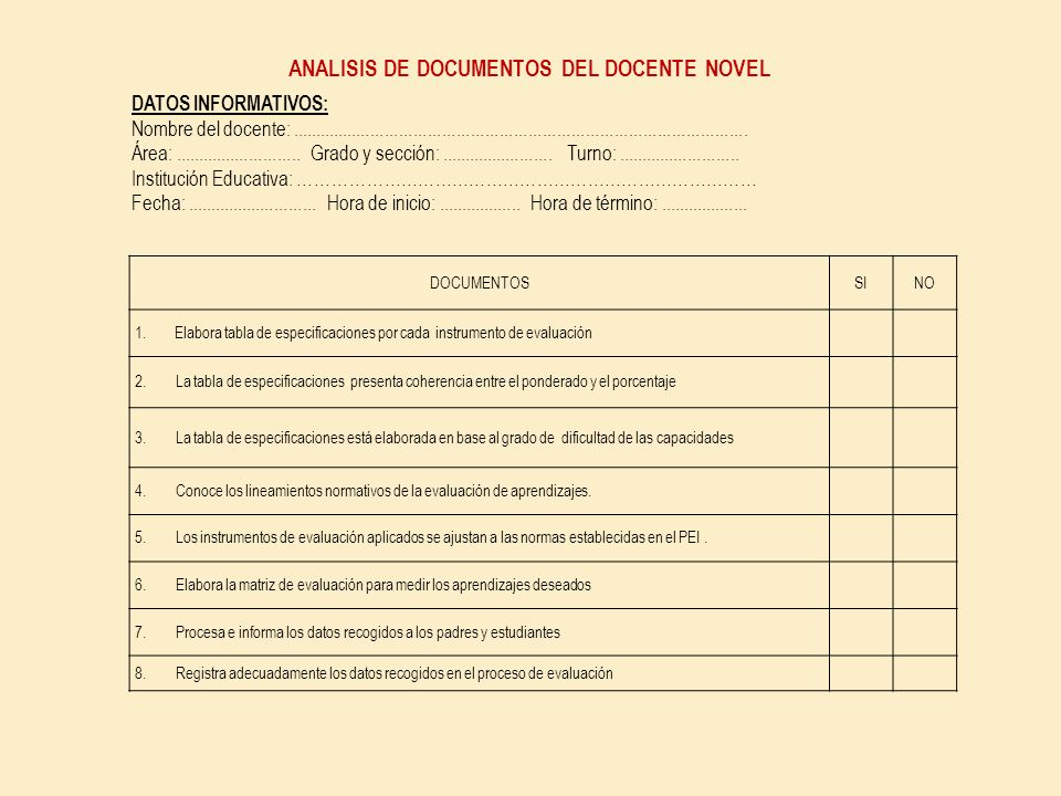 ANALISIS DE DOCUMENTOS DEL DOCENTE NOVEL