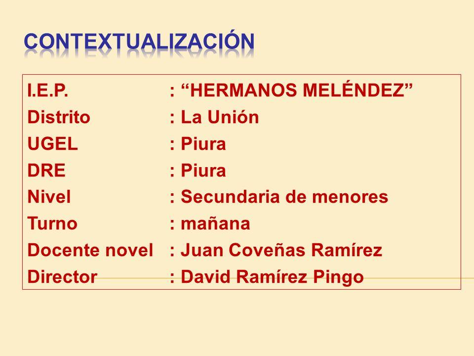 CONTEXTUALIZACIÓN I.E.P. : HERMANOS MELÉNDEZ Distrito : La Unión