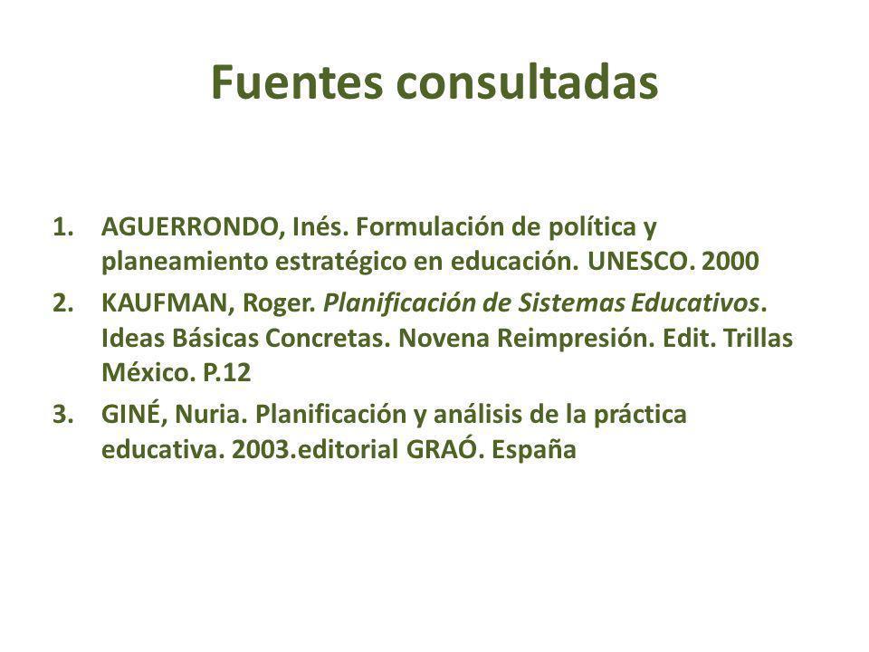 Fuentes consultadas AGUERRONDO, Inés. Formulación de política y planeamiento estratégico en educación. UNESCO. 2000.