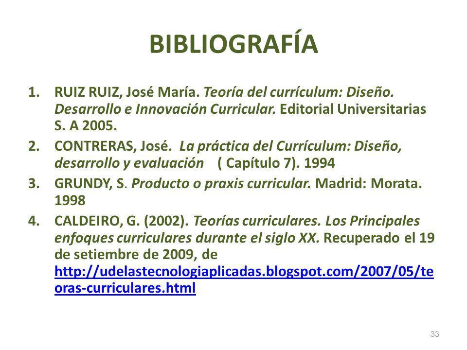 BIBLIOGRAFÍA RUIZ RUIZ, José María. Teoría del currículum: Diseño. Desarrollo e Innovación Curricular. Editorial Universitarias S. A 2005.