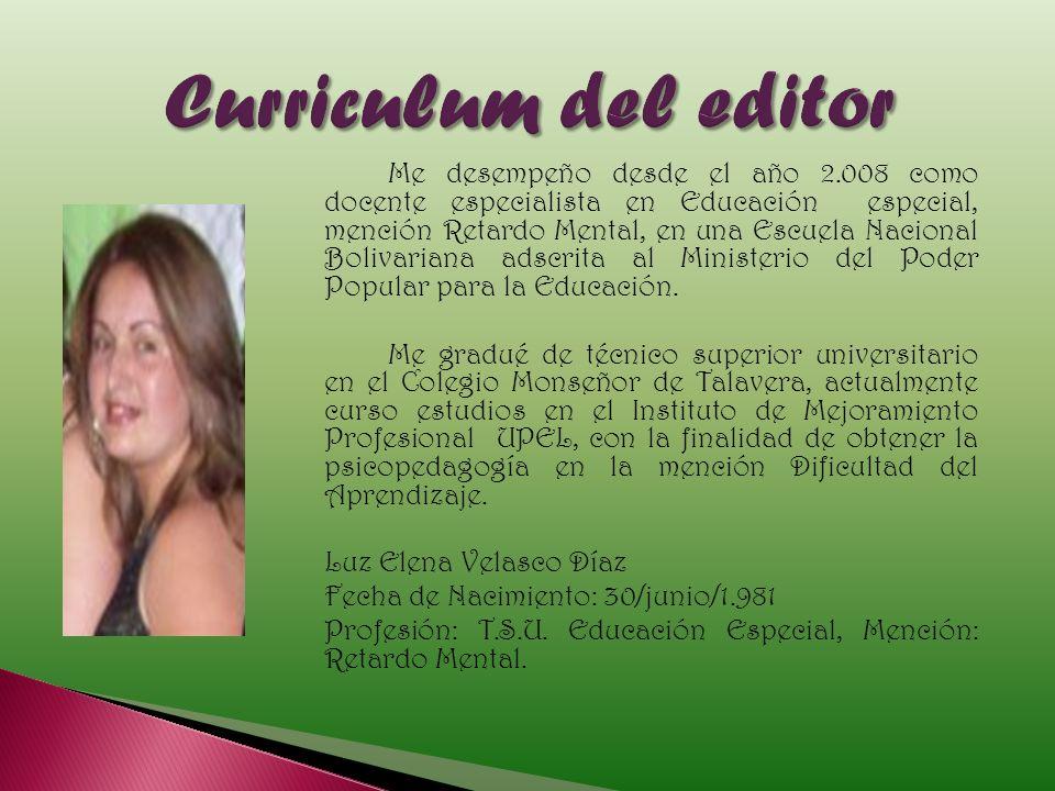 Curriculum del editor