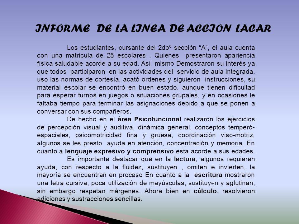 INFORME DE LA LINEA DE ACCION LACAR