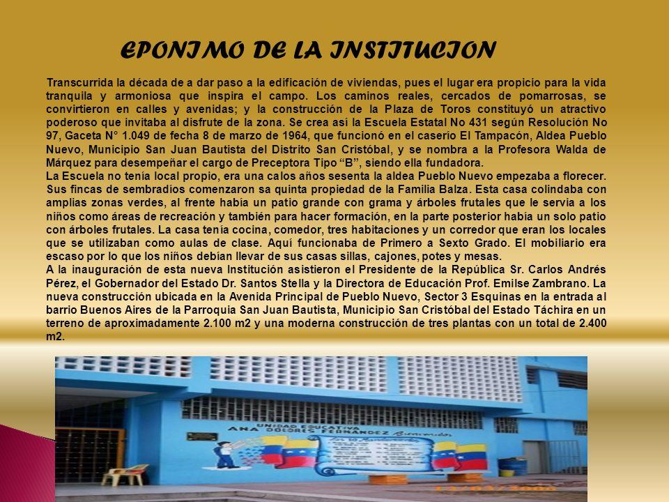 EPONIMO DE LA INSTITUCION