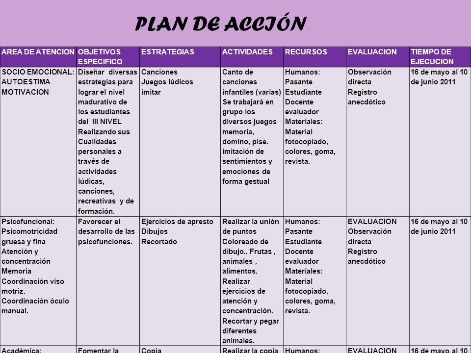 PLAN DE ACCIÓN AREA DE ATENCION OBJETIVOS ESPECIFICO ESTRATEGIAS