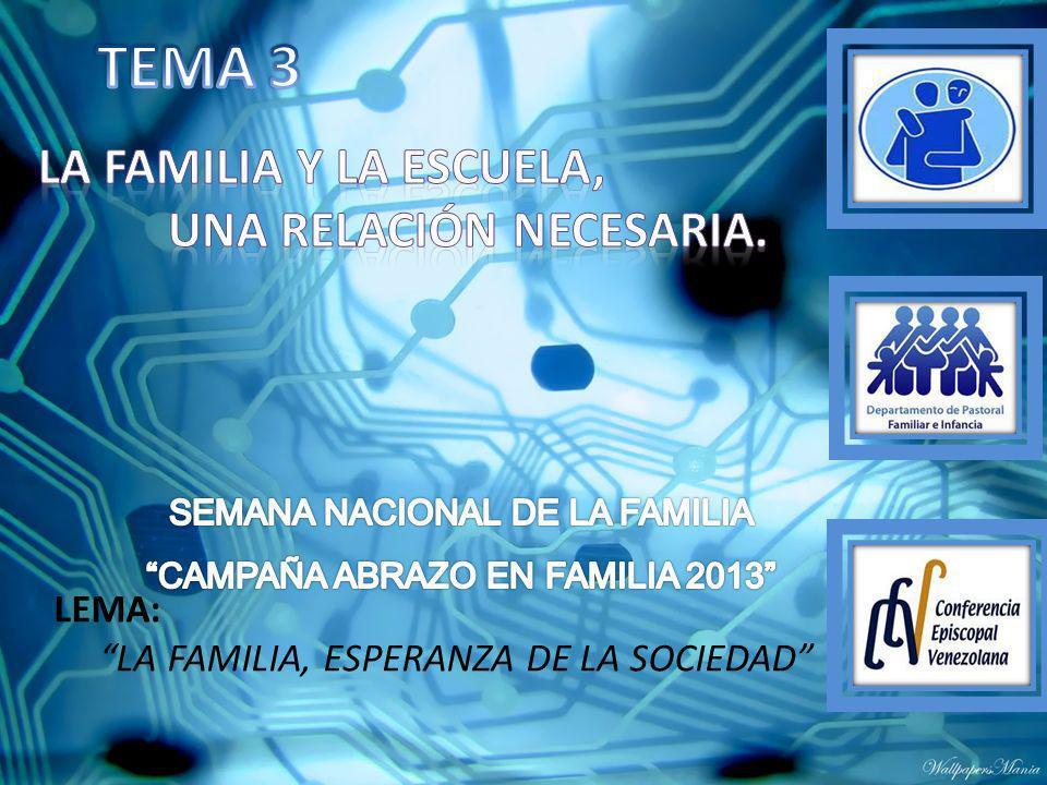 TEMA 3 La familia y la escuela, una relación necesaria. LEMA: