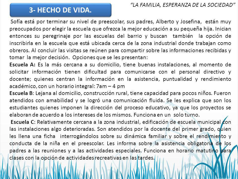 3- HECHO DE VIDA. LA FAMILIA, ESPERANZA DE LA SOCIEDAD