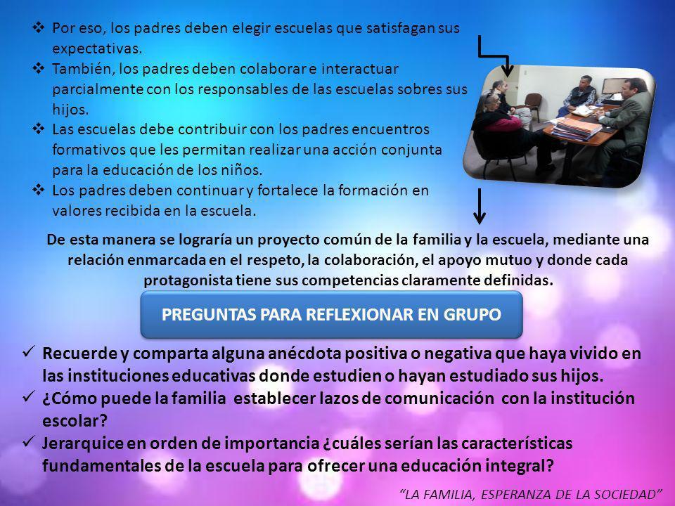 PREGUNTAS PARA REFLEXIONAR EN GRUPO