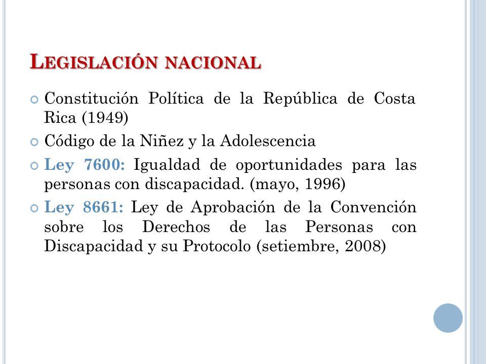 Legislación nacional Constitución Política de la República de Costa Rica (1949) Código de la Niñez y la Adolescencia.