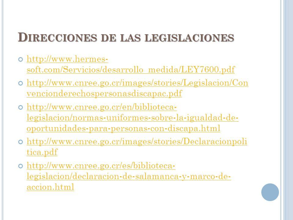 Direcciones de las legislaciones