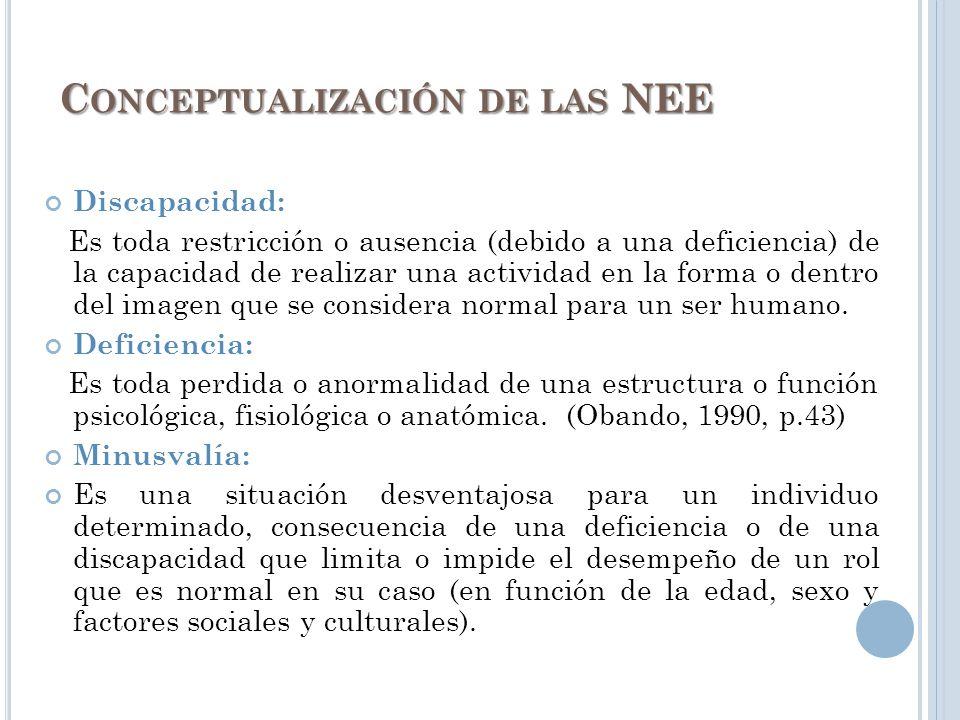 Conceptualización de las NEE