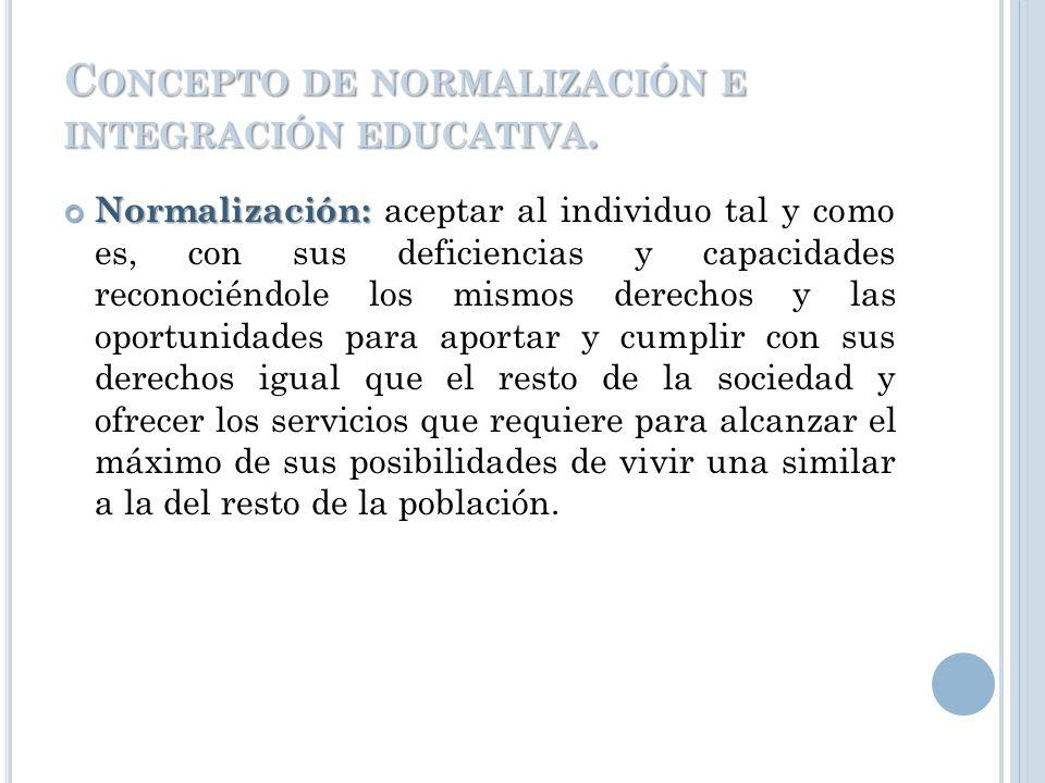 Concepto de normalización e integración educativa.