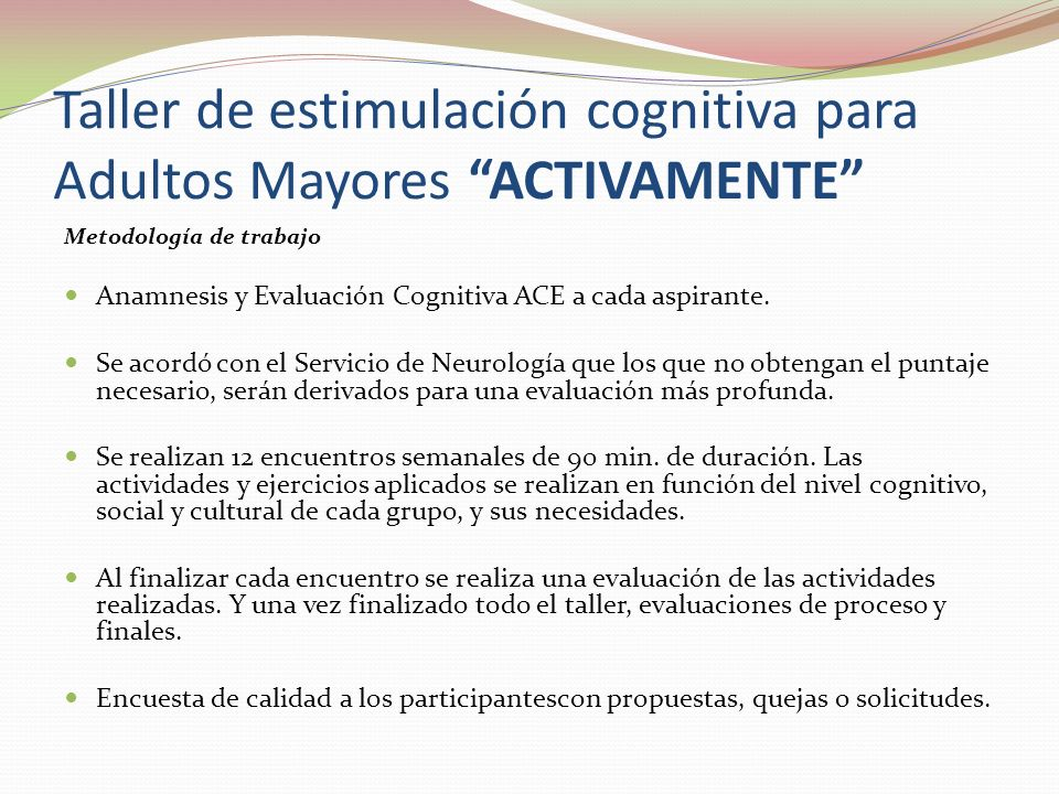 Taller de estimulación cognitiva para Adultos Mayores ACTIVAMENTE