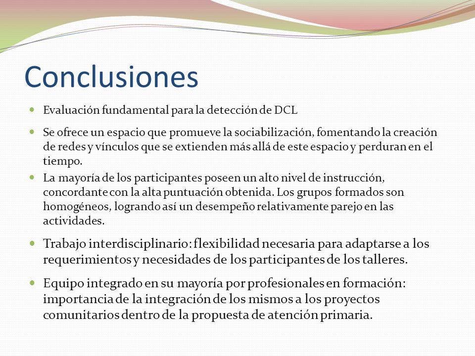 Conclusiones Evaluación fundamental para la detección de DCL.