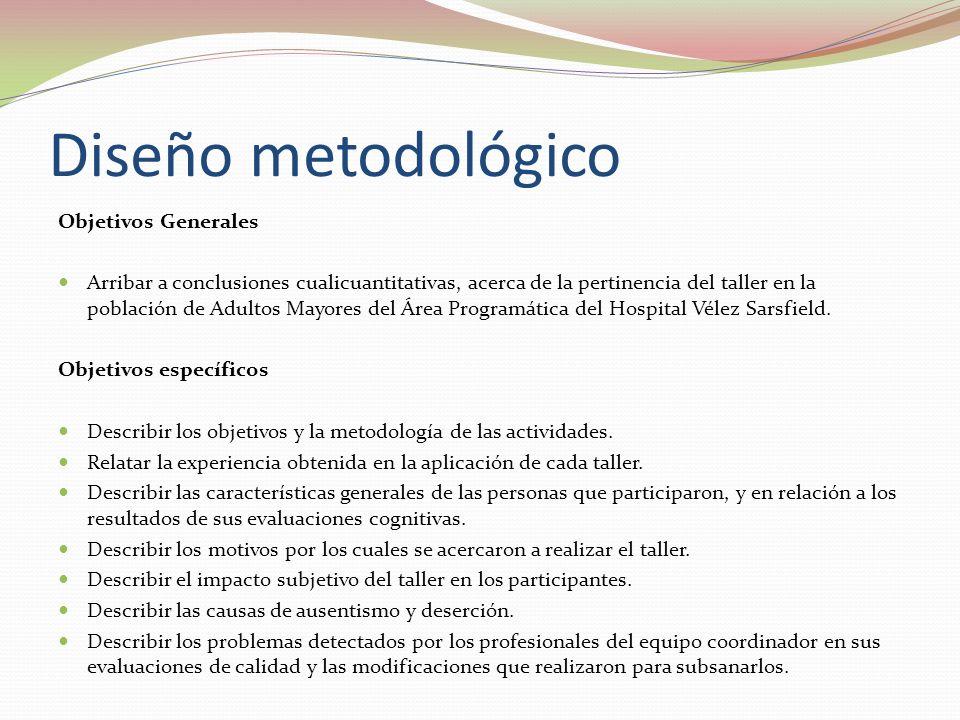 Diseño metodológico Objetivos Generales