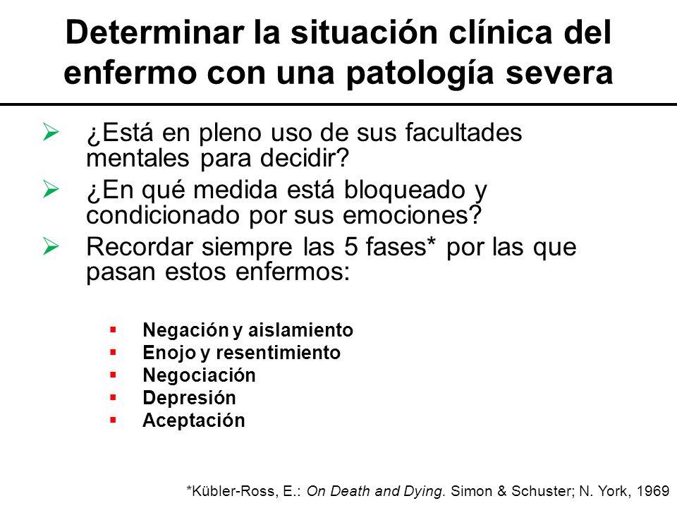 Determinar la situación clínica del enfermo con una patología severa