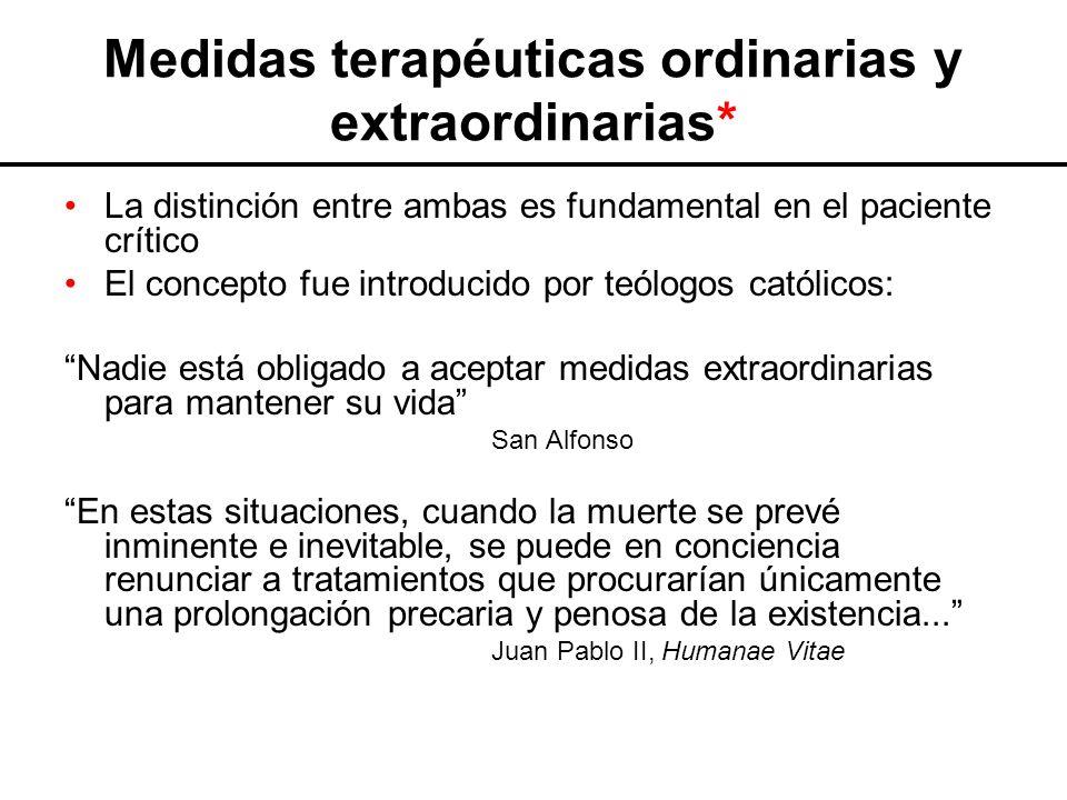 Medidas terapéuticas ordinarias y extraordinarias*