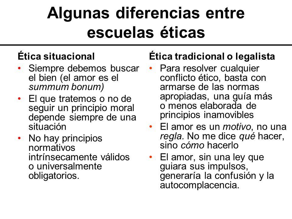 Algunas diferencias entre escuelas éticas
