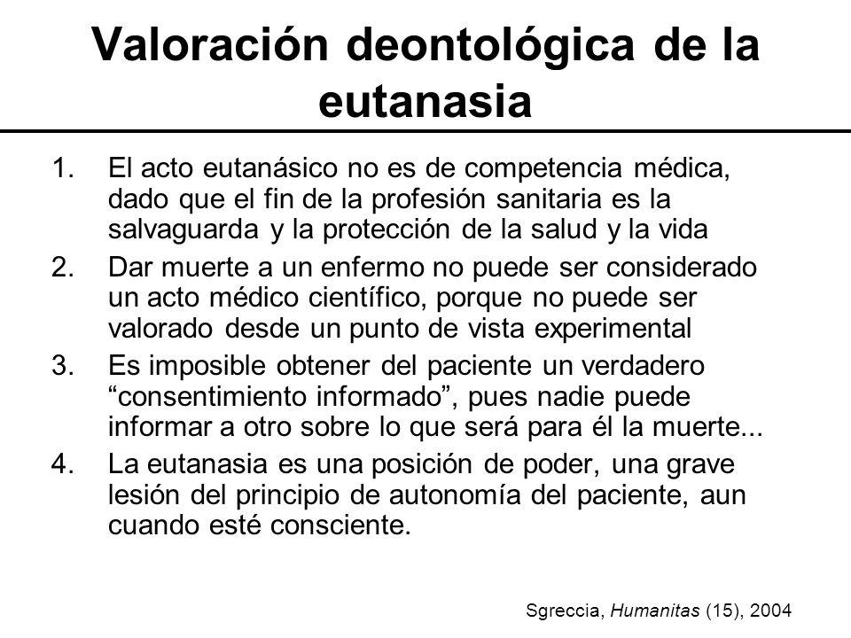 Valoración deontológica de la eutanasia