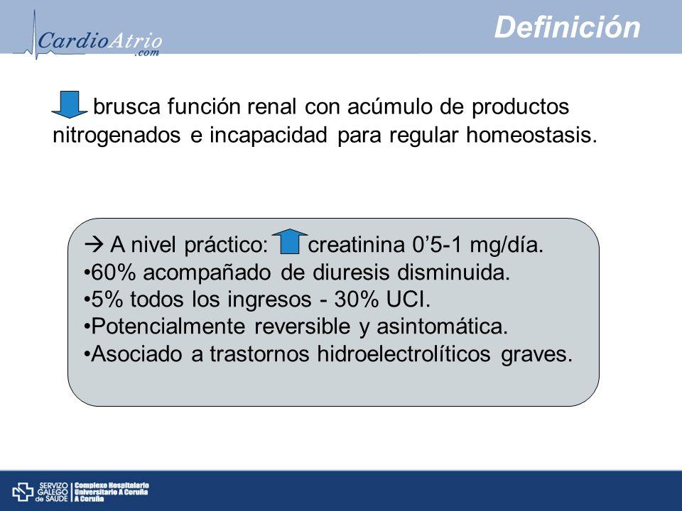 Definición brusca función renal con acúmulo de productos nitrogenados e incapacidad para regular homeostasis.