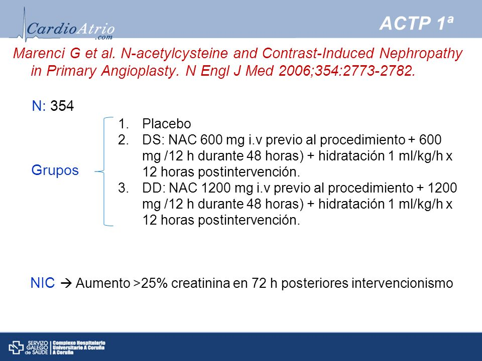 ACTP 1ª Marenci G et al. N-acetylcysteine and Contrast-Induced Nephropathy in Primary Angioplasty. N Engl J Med 2006;354:2773-2782.
