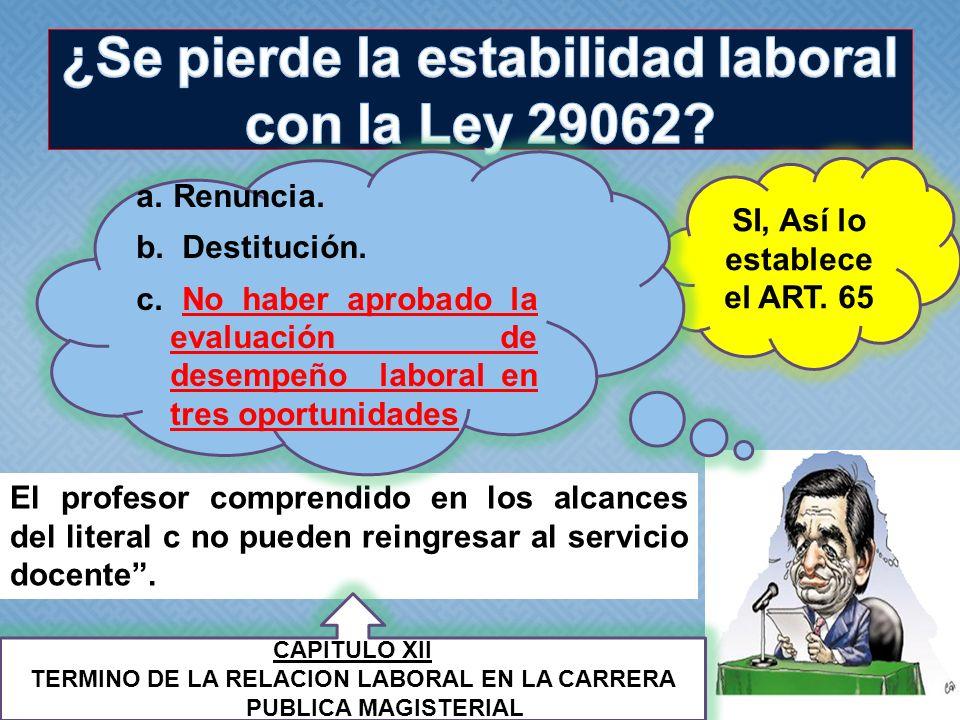 ¿Se pierde la estabilidad laboral con la Ley 29062