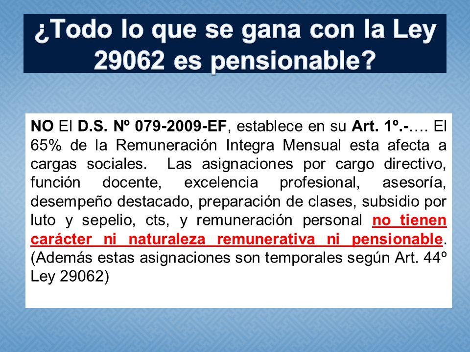 ¿Todo lo que se gana con la Ley 29062 es pensionable