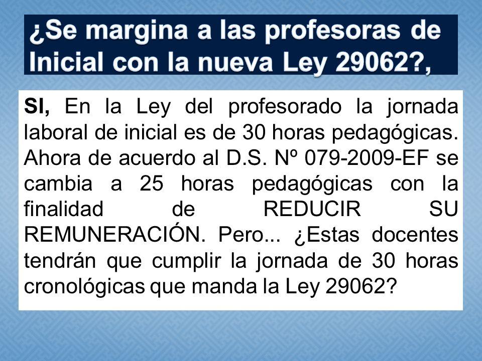 ¿Se margina a las profesoras de Inicial con la nueva Ley 29062 ,