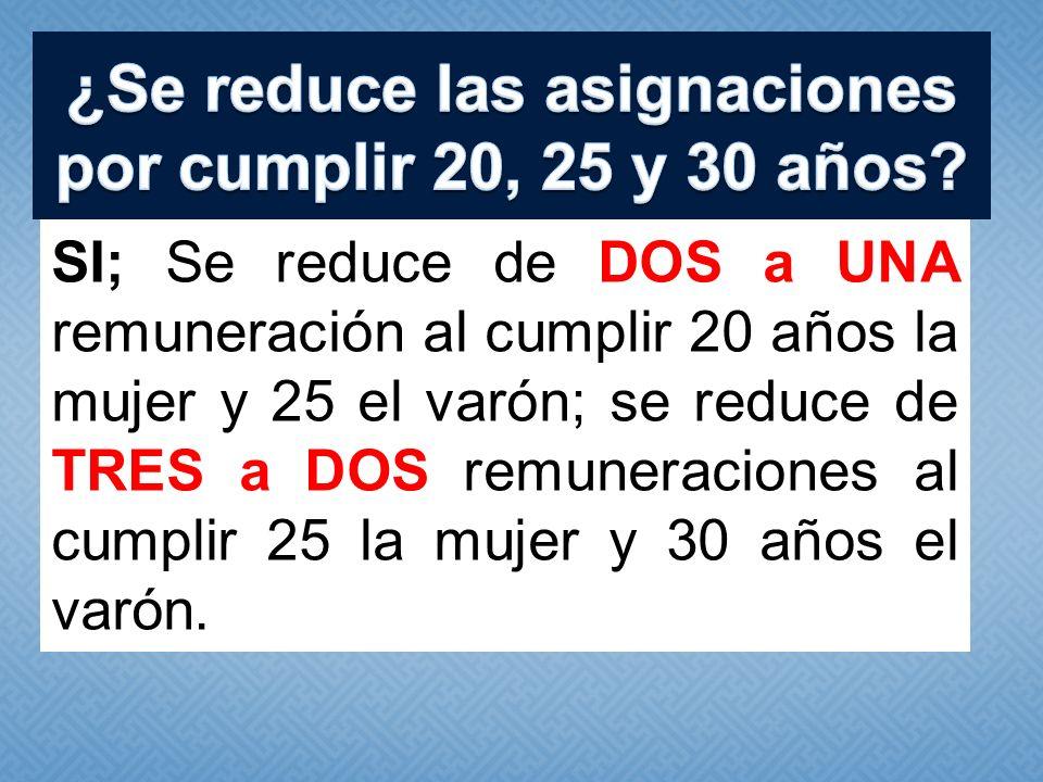 ¿Se reduce las asignaciones por cumplir 20, 25 y 30 años