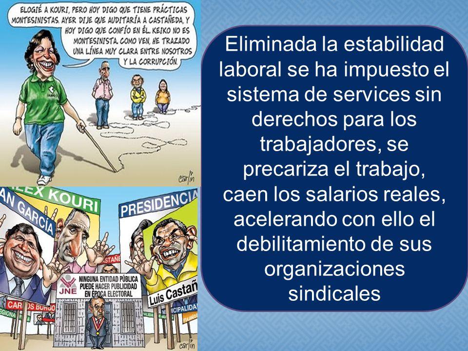 Eliminada la estabilidad laboral se ha impuesto el sistema de services sin derechos para los trabajadores, se precariza el trabajo, caen los salarios reales, acelerando con ello el debilitamiento de sus organizaciones sindicales