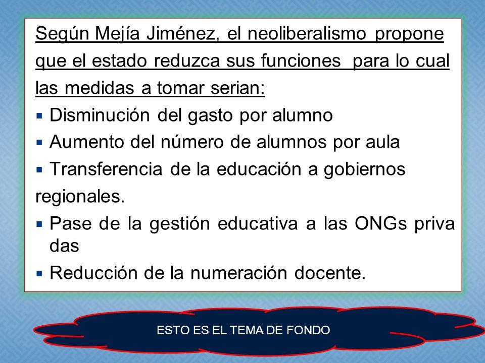 Según Mejía Jiménez, el neoliberalismo propone