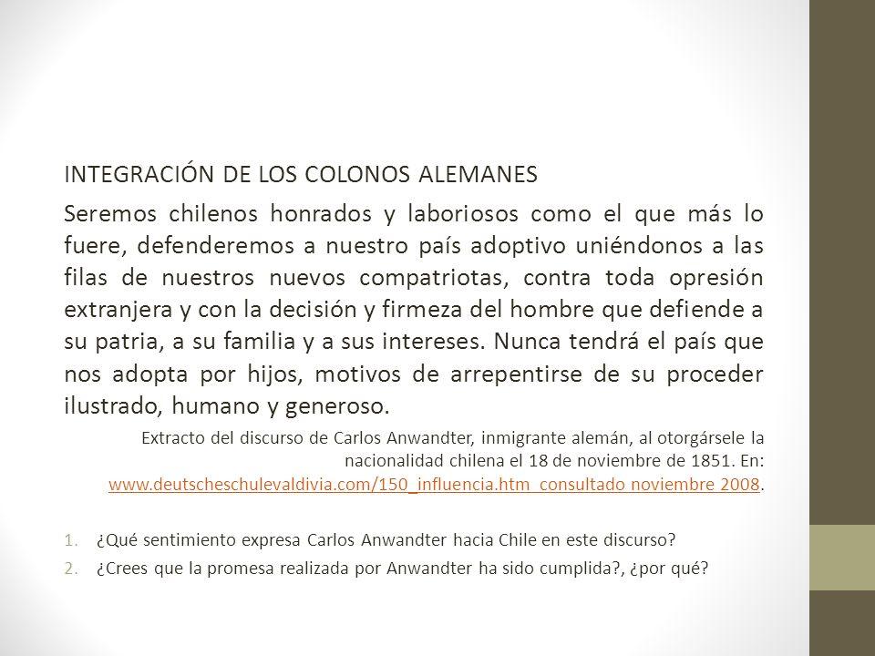 INTEGRACIÓN DE LOS COLONOS ALEMANES