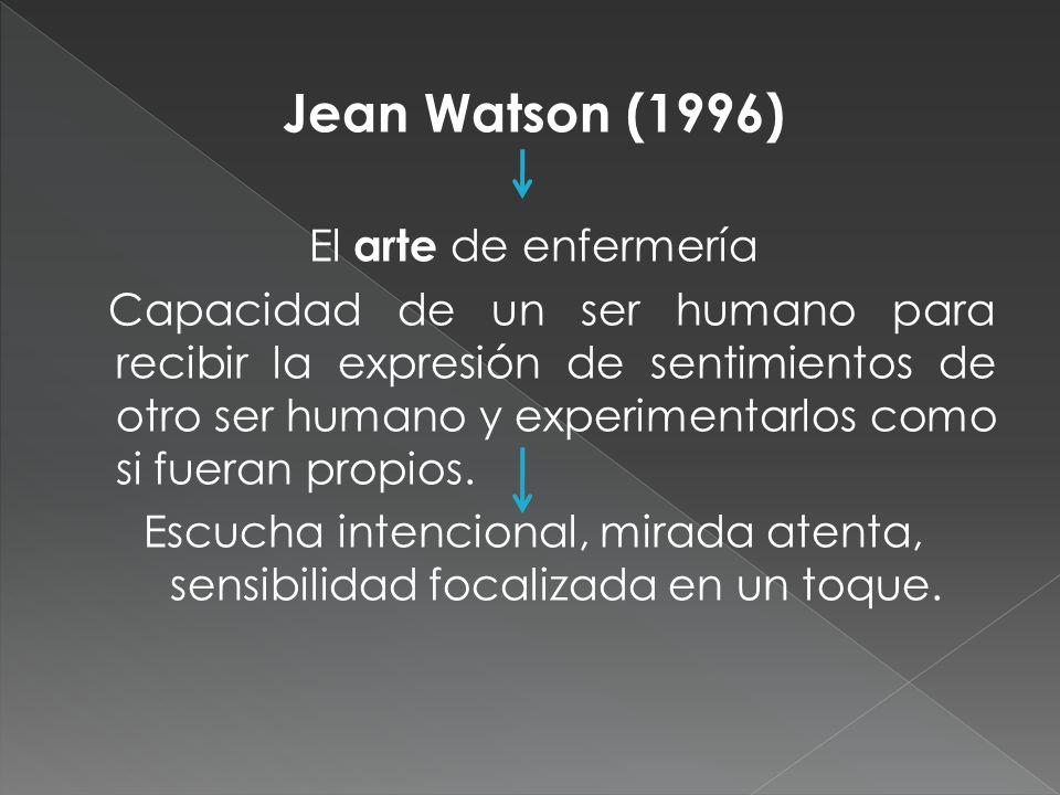Jean Watson (1996) El arte de enfermería