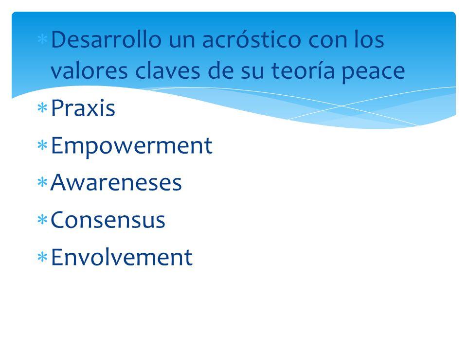Desarrollo un acróstico con los valores claves de su teoría peace