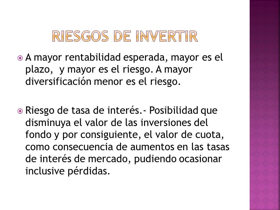 RIESGOS DE INVERTIR A mayor rentabilidad esperada, mayor es el plazo, y mayor es el riesgo. A mayor diversificación menor es el riesgo.
