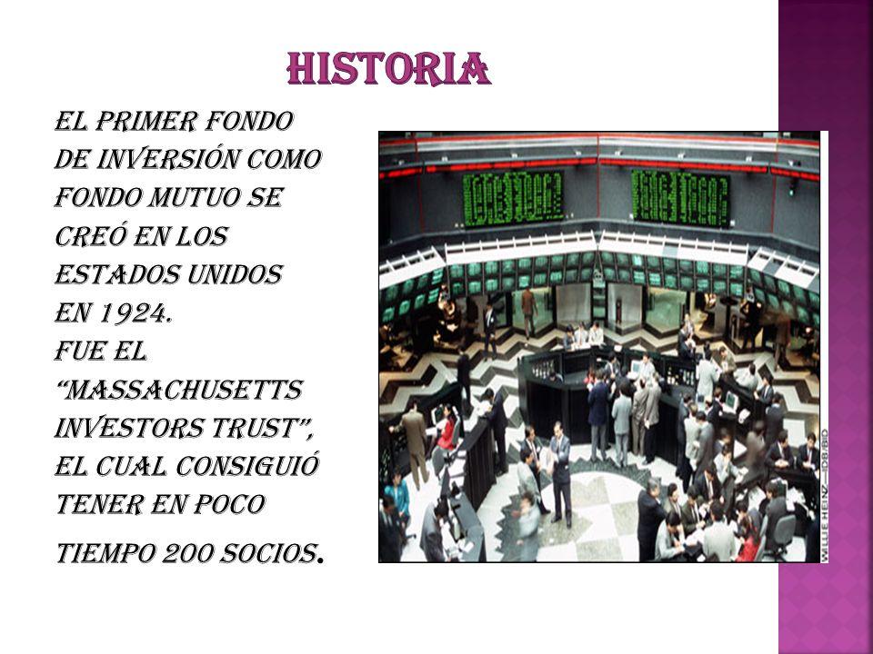 HISTORIA El primer Fondo de Inversión como fondo mutuo se creó en los