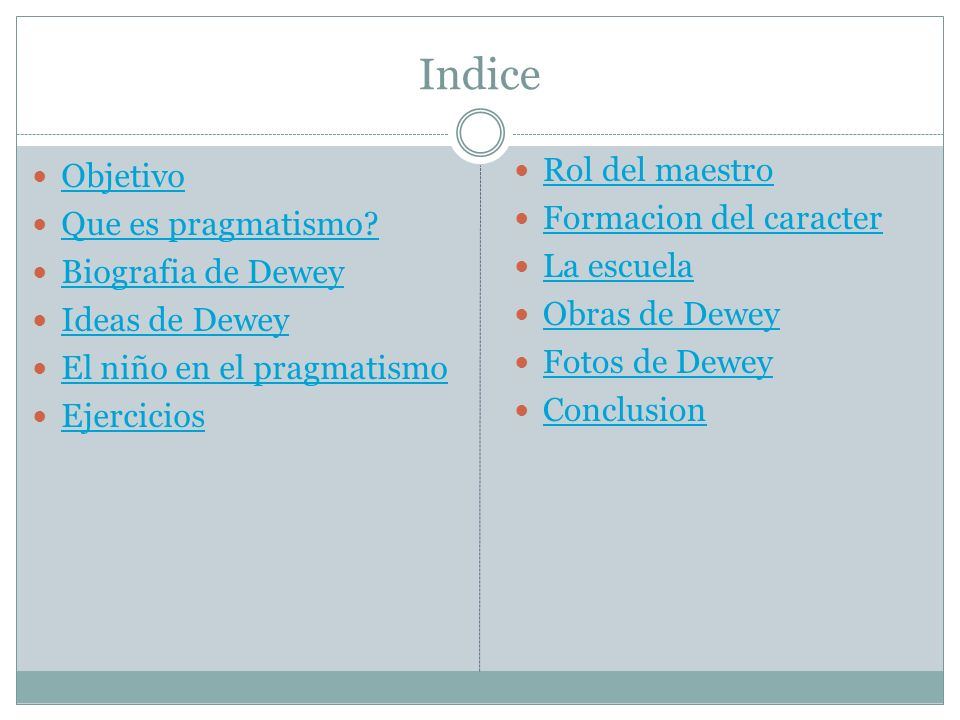 Indice Rol del maestro Objetivo Formacion del caracter