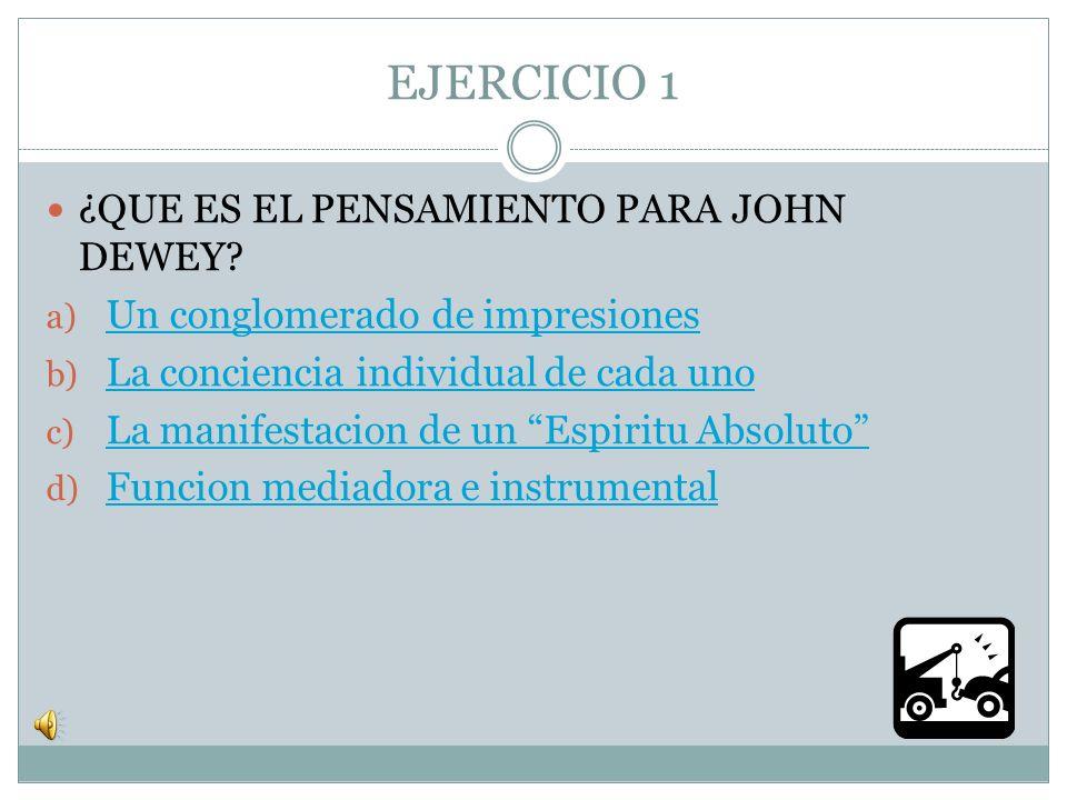 EJERCICIO 1 ¿QUE ES EL PENSAMIENTO PARA JOHN DEWEY