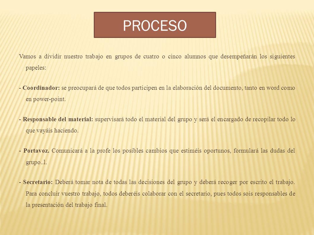 PROCESO Vamos a dividir nuestro trabajo en grupos de cuatro o cinco alumnos que desempeñarán los siguientes papeles: