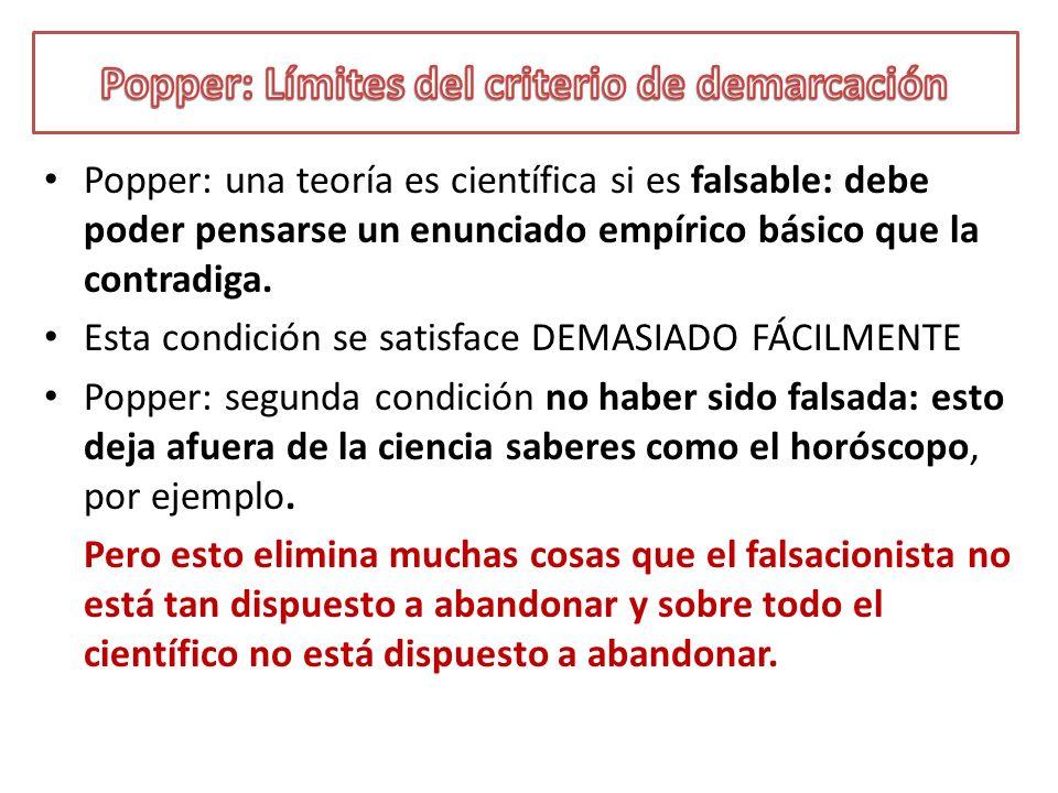 Popper: Límites del criterio de demarcación