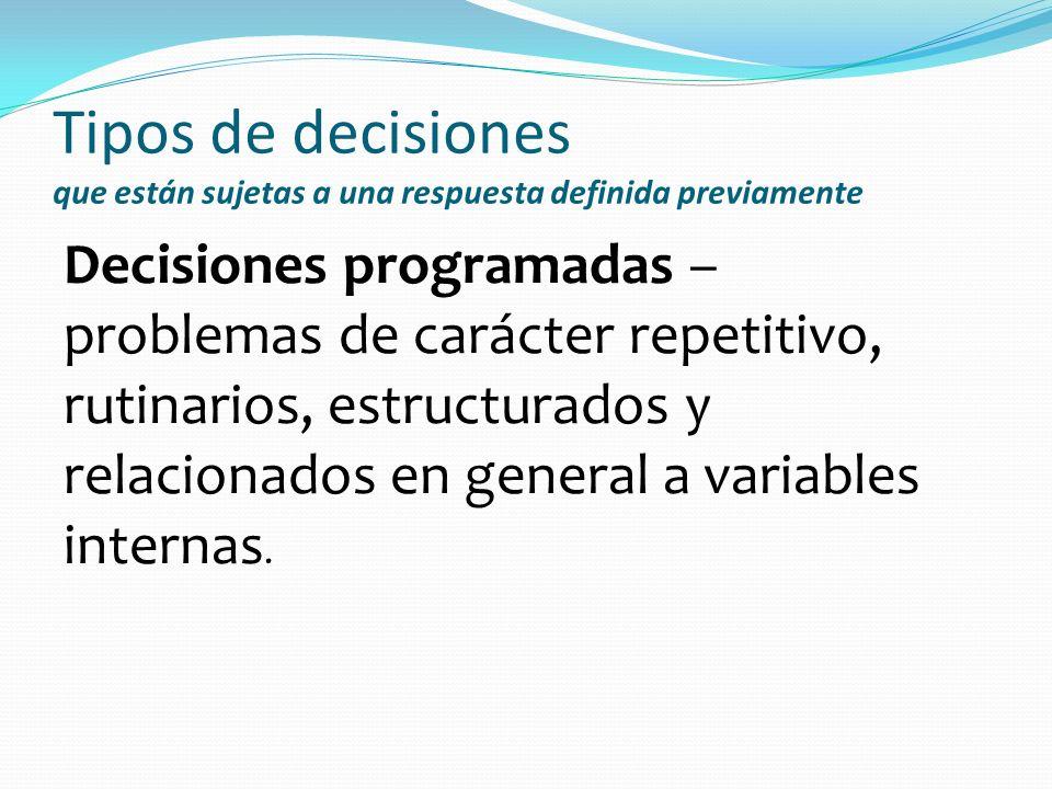 Tipos de decisiones que están sujetas a una respuesta definida previamente