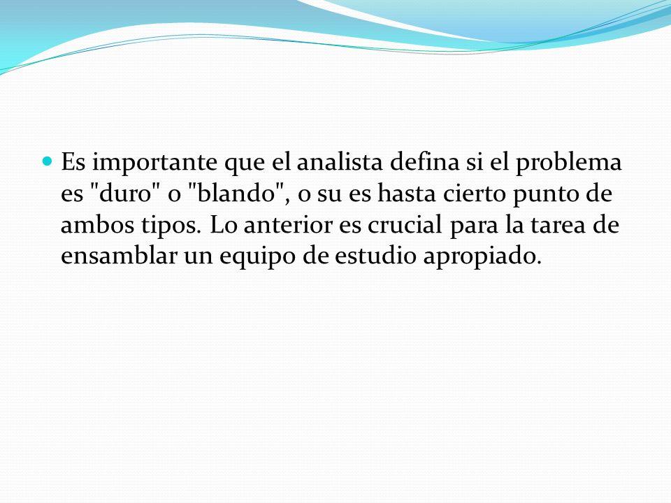 Es importante que el analista defina si el problema es duro o blando , o su es hasta cierto punto de ambos tipos.