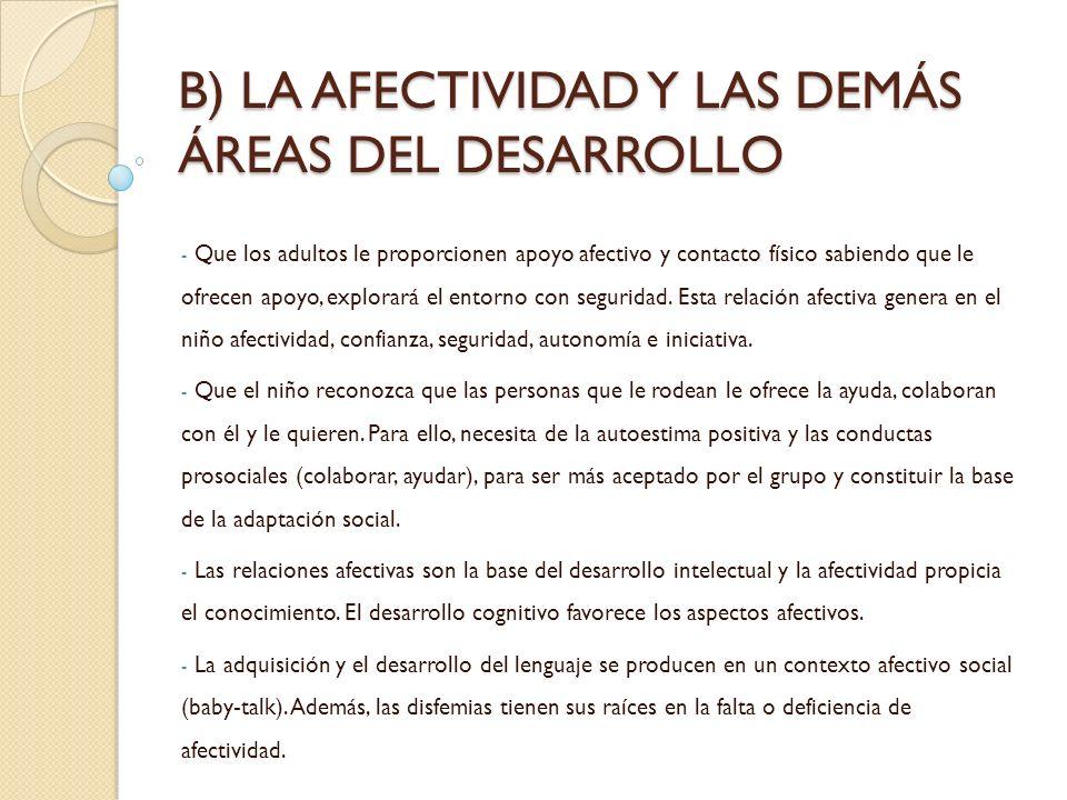 B) LA AFECTIVIDAD Y LAS DEMÁS ÁREAS DEL DESARROLLO