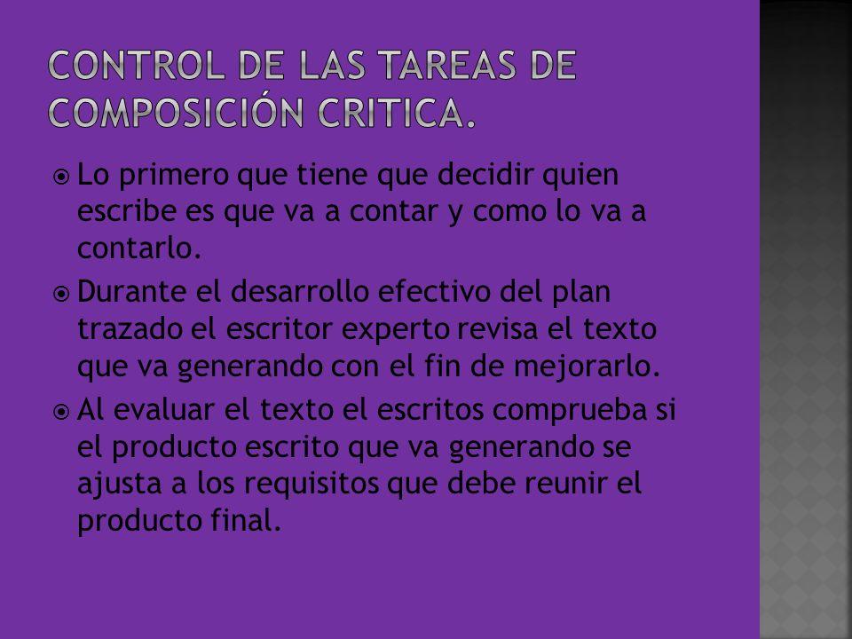 CONTROL DE LAS TAREAS DE COMPOSICIÓN CRITICA.