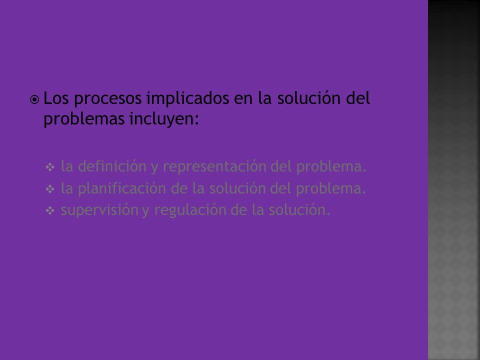 Los procesos implicados en la solución del problemas incluyen: