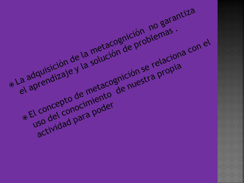 La adquisición de la metacognición no garantiza el aprendizaje y la solución de problemas .